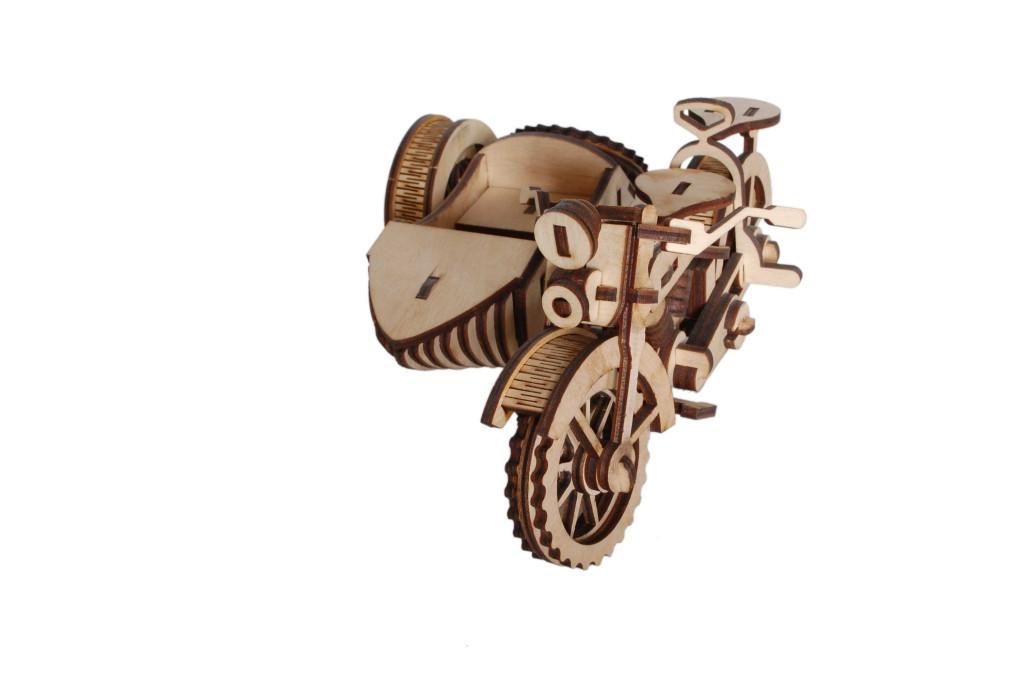 Механический деревянный 3D пазл РЕЗАНОК Мотоцикл с коляской 124 элемента