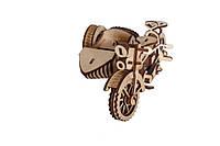 Механический деревянный 3D пазл РЕЗАНОК Мотоцикл с коляской 124 элемента, фото 1
