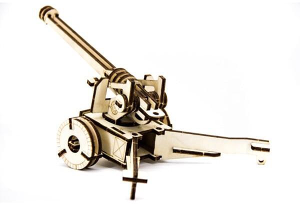 Механический деревянный 3D пазл SUNROZ Пушка 49 эл.