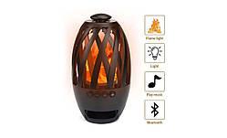Беспроводная портативная Bluetooth колонка SUNROZ Flame Atmosphere BTS-596 LED Камин Black