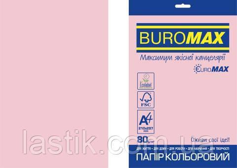 Бумага цветная PASTEL, EUROMAX, розовая, 20 л., А4, 80 г/м²