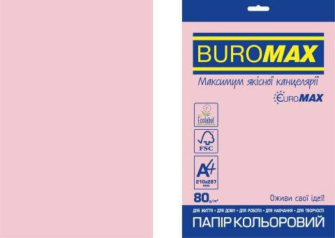 Бумага цветная PASTEL, EUROMAX, розовая, 20 л., А4, 80 г/м², фото 2