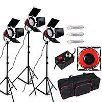 """Комплект для освещения FST """"Red Head"""" из 3-х головок постоянного света с галогенными лампами 2400W, фото 1"""