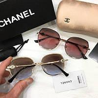Женские солнцезащитные очки Chanel реплика желто-голубые