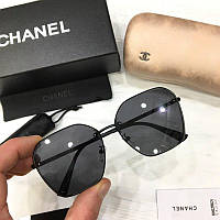 Женские солнцезащитные шестиугольные очки Chanel реплика черные