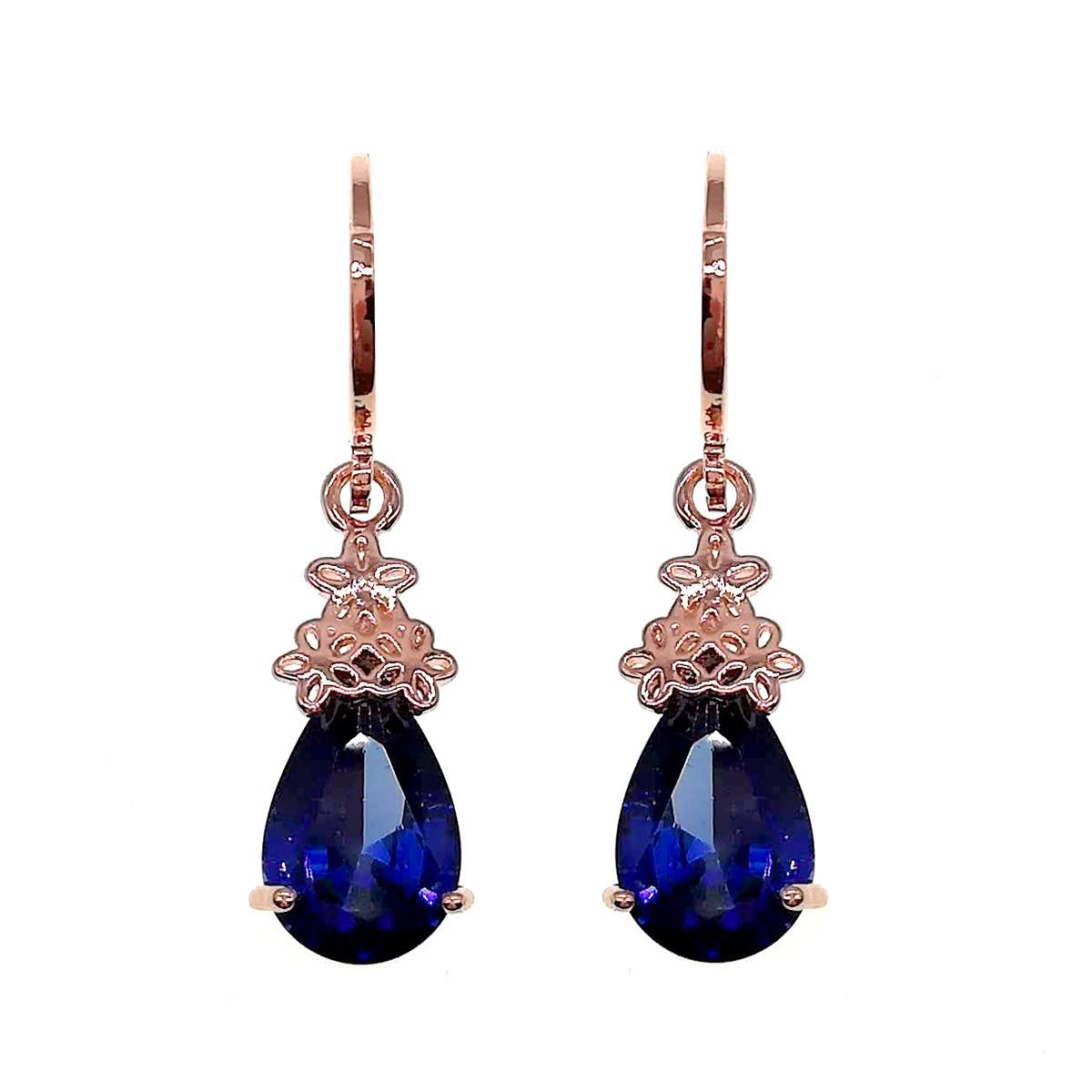 Сережки SONATA з медичного золота, сині фіаніти, позолота PO, 24024 (1)