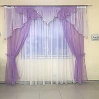 Тюлевые занавески на кухню 150х270cm (2 шт) из шифона с ламбрекеном ALBO фиолетовые (LS295-18), фото 1