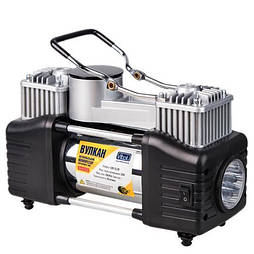 """Компрессор """"Вулкан"""" КА-В12122 150psi/25Amp/90л/клеммы/шланг 7,5м с дефлятором/фонарь/2 цилиндра (КА-В12122)"""