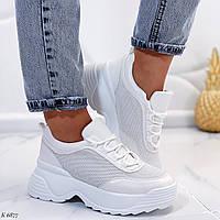 Стильные женские кроссовки белые эко-кожа и текстиль, фото 1