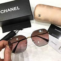 Женские солнцезащитные шестиугольные очки Chanel реплика с розовым градиентом