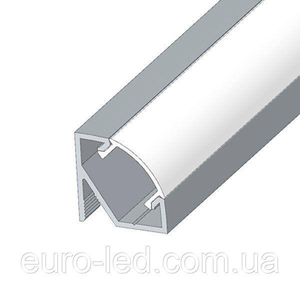 Комплект. Профиль аллюминиевый LED BIOM угловой ЛПУ17 17х17неанодированный (палка 2м) + рассеиватель