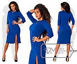 Стильное силуэтное платье с украшением и разрезом впереди, 4 цвета, (р-р.42,44,46,48,50,52,54)   Код 572Д, фото 4