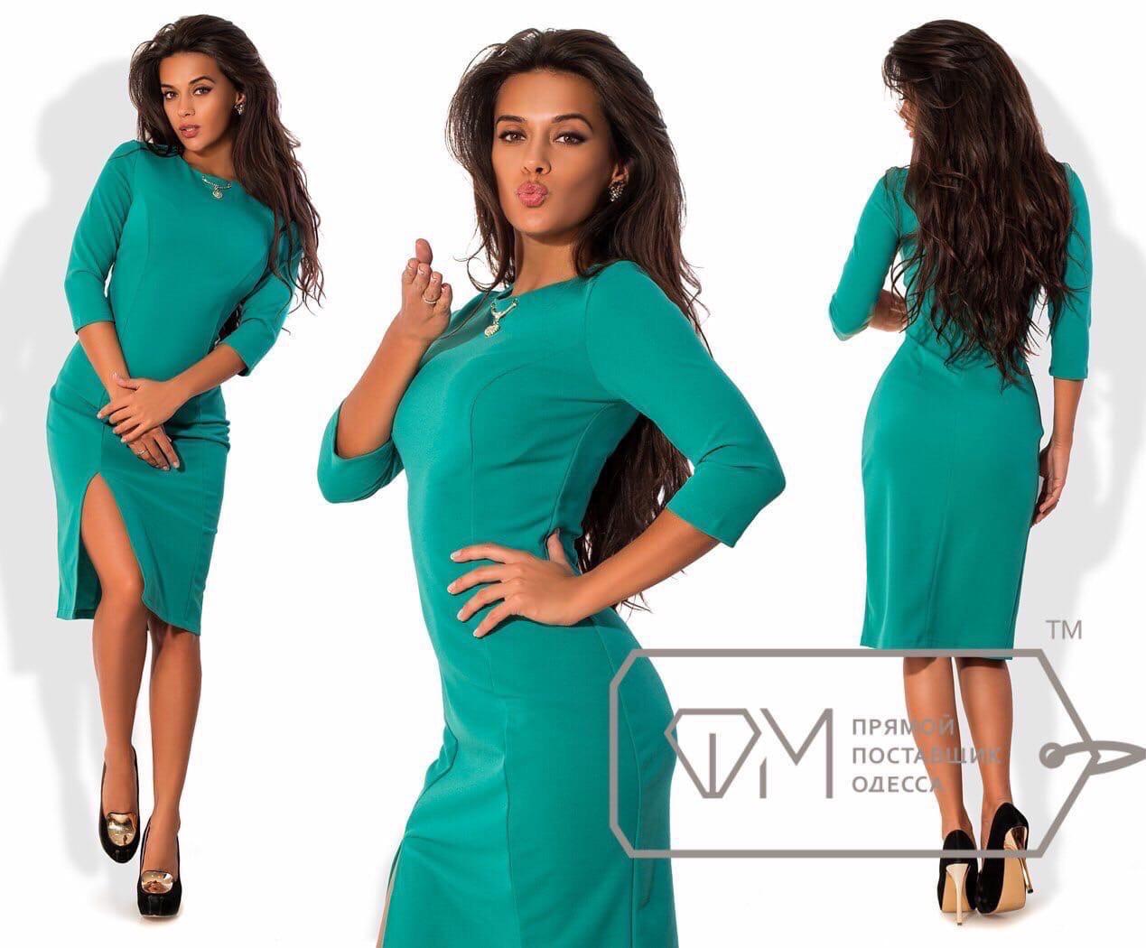 Стильное силуэтное платье с украшением и разрезом впереди, 4 цвета, (р-р.42,44,46,48,50,52,54)   Код 572Д