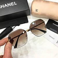 Женские солнцезащитные шестиугольные очки Chanel  реплика с коричневым градиентом