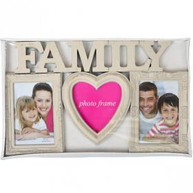 """Фоторамка - колаж """"Сімейна"""", бежева, Рамка для фотографий """"Family"""""""