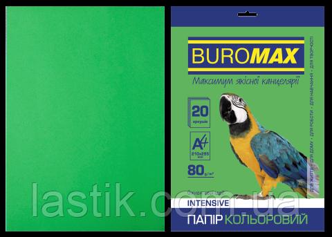 Бумага цветная INTENSIVE, зеленая, 20 л., А4, 80 г/м², фото 2