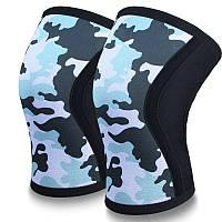 Неопреновые наколенники  для тяжелой атлетики, стронгмена, пауэрлифтинга, CrossFit CF88 7 мм Синий камуфляж