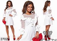 Платье нарядное с отрезной пышной юбкой , на рукавах сетка с воланами  р.S.M.L.XL Код 465Д
