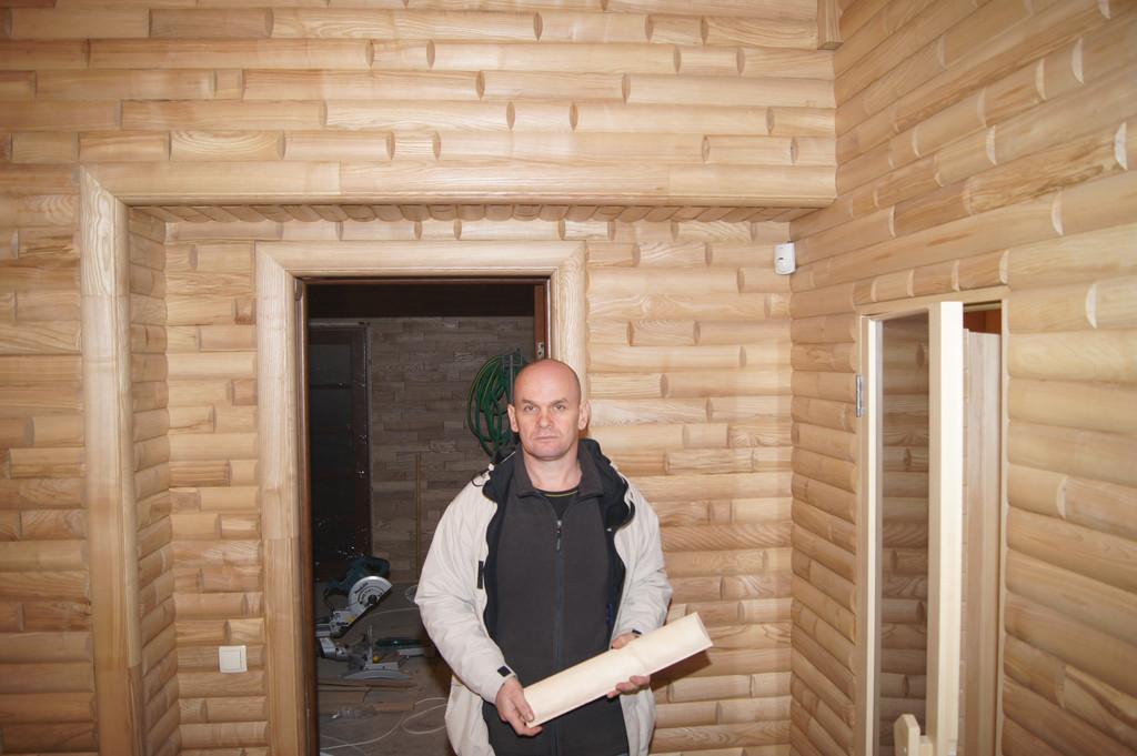 Ясеневый блок-хаус в бане в с. Лозовеньки