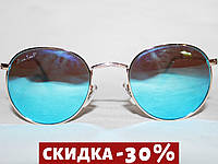 Очки в стиле Ray Ban ROUND 3447 золото поляризационные зеркальные голубой
