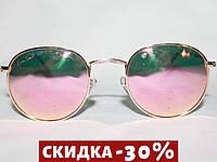 Очки в стиле Ray Ban ROUND 3447 золото поляризационные зеркальные розовый