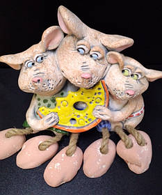 "Копілка гіпсова ""3 мишки з сиром"", Копилка ""Мышки с сыром"""