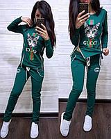 Женский модный спортивный костюм Gucci с кошкой змейки по бокам Норма и Батал