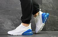 Кросівки Nike Air Max 270 (чоловічі, білі з синім, сітка)