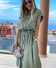 Стильное модное легкое миди платье в горох цвета: чёрный , олива, беж ✔размеры 42-46, 48-52