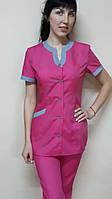 Женский медицинский костюм Радуга хлопок короткий рукав, фото 1