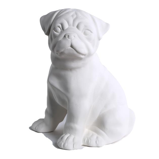 Декоративный Мопс керамика, декор для дома, Мопс, Белый (00630)