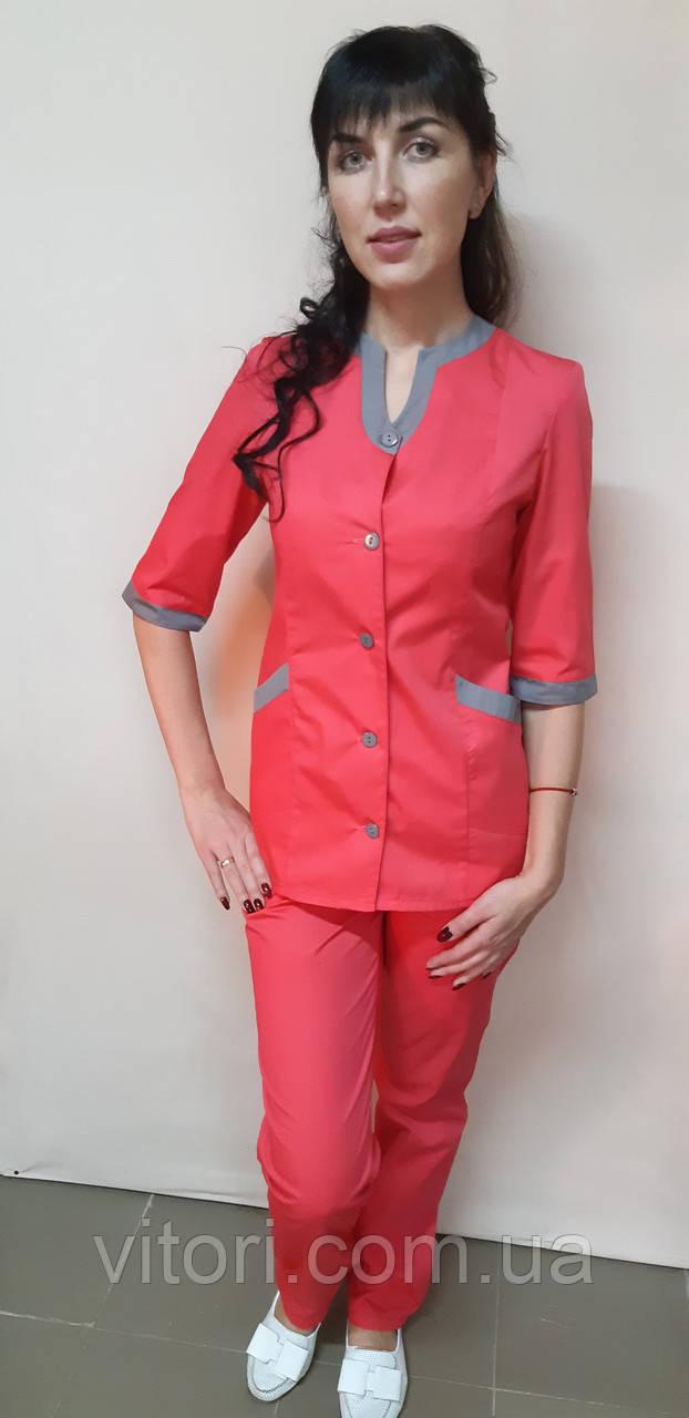 Женский медицинский костюм Радуга три четверти рукав хлопок