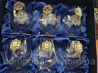 Набор хрустальных бокалов для коньяка с серебром Suggest Герб Украина