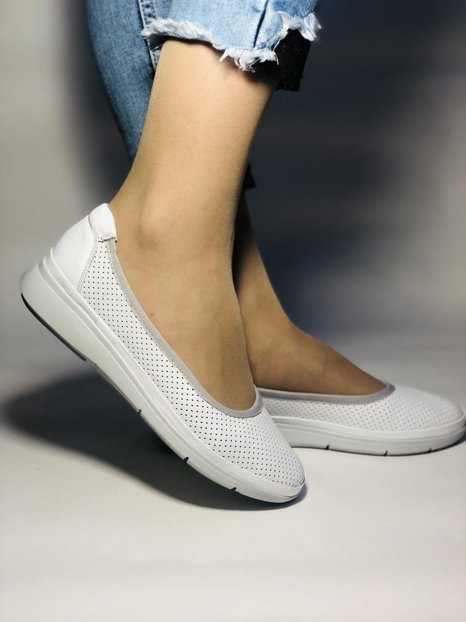 Женские туфли -балетки с перфорацией на утолщенной подошве. Натуральная кожа. Размер 36,37,38,39,40,41.Vellena