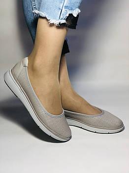 Женские туфли -балетки с перфорацией на утолщенной подошве. Натуральная кожа. Размер 39,40,. Супер комфорт