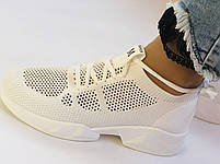 Lonza. Стильные женские кеды-кроссовки белые.Вязанный текстиль с сеткой.Отличное качество! Р. 37, фото 2
