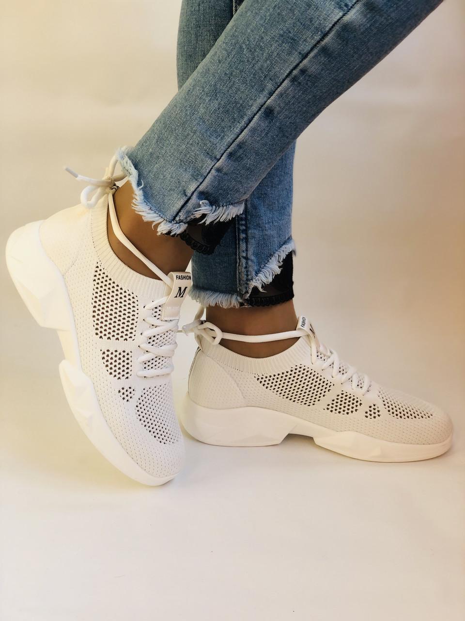 Lonza. Стильные женские кеды-кроссовки белые.Вязанный текстиль с сеткой.Отличное качество! Р. 37