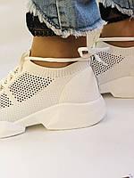 Lonza. Стильные женские кеды-кроссовки белые.Вязанный текстиль с сеткой.Отличное качество! Р. 37, фото 6