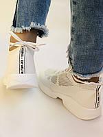 Lonza. Стильные женские кеды-кроссовки белые.Вязанный текстиль с сеткой.Отличное качество! Р. 37, фото 7