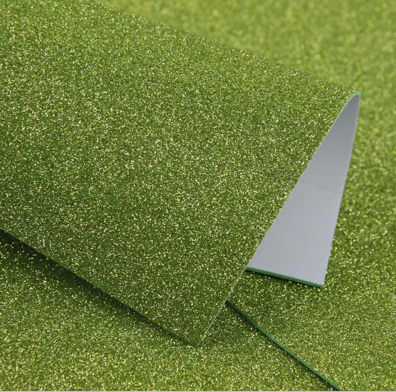 Фоамиран с глиттером на клеевой основе 20х30 см, оливковый