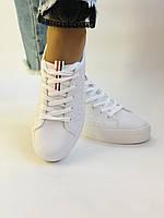 Стильні жіночі кеди-кросівки білі з перфорацією. 36 37 38 40 41 Vellena, фото 2