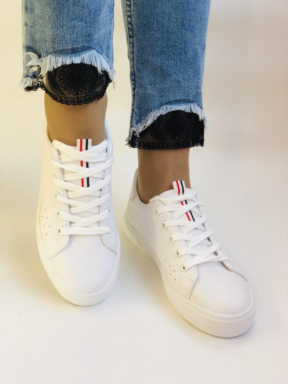 Стильні жіночі кеди-кросівки білі з перфорацією. 36 37 38 40 41 Vellena