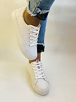 Стильні жіночі кеди-кросівки білі з перфорацією. 36 37 38 40 41 Vellena, фото 4