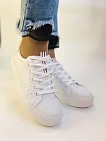 Стильні жіночі кеди-кросівки білі з перфорацією. 36 37 38 40 41 Vellena, фото 7