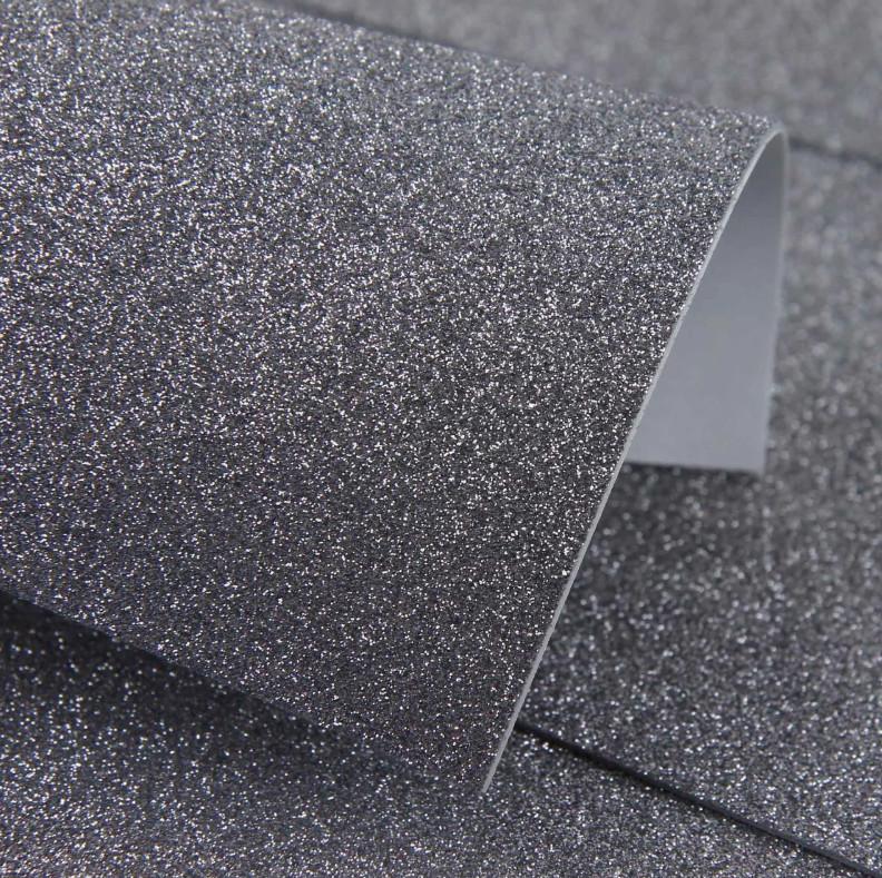 Фоамиран с глиттером на клеевой основе 20х30 см, темное серебро