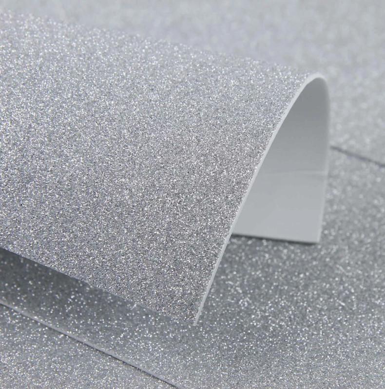 Фоамиран с глиттером на клеевой основе 20х30 см, серебро