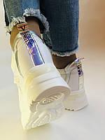 Стильні жіночі кеди-кросівки снікерси. Білі з сіткою.Відмінна якість! 36-39 Vellena, фото 6