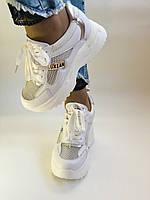 Стильні жіночі кеди-кросівки снікерси. Білі з сіткою.Відмінна якість! 36-39 Vellena, фото 4