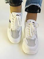 Стильні жіночі кеди-кросівки снікерси. Білі з сіткою.Відмінна якість! 36-39 Vellena, фото 7
