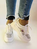 Стильні жіночі кеди-кросівки снікерси. Білі з сіткою.Відмінна якість! 36-39 Vellena, фото 5